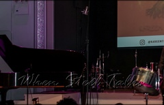 Kareem Thompson on stage, Khuent Rose on piano